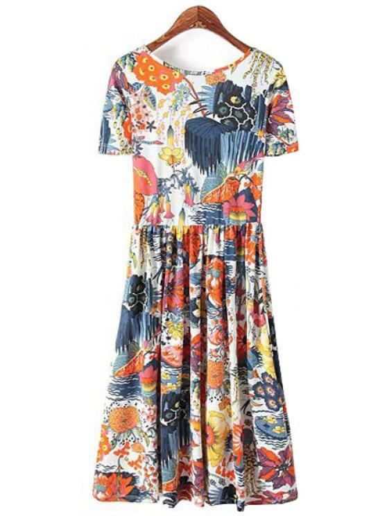 lady Floral Print Short Sleeves Dress - COLORMIX S