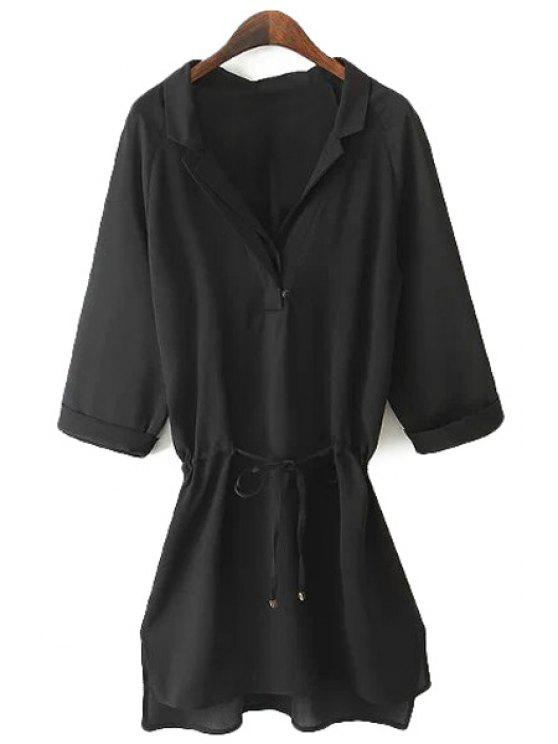 hot Black 3/4 Sleeve Drawstring Shirt - BLACK S