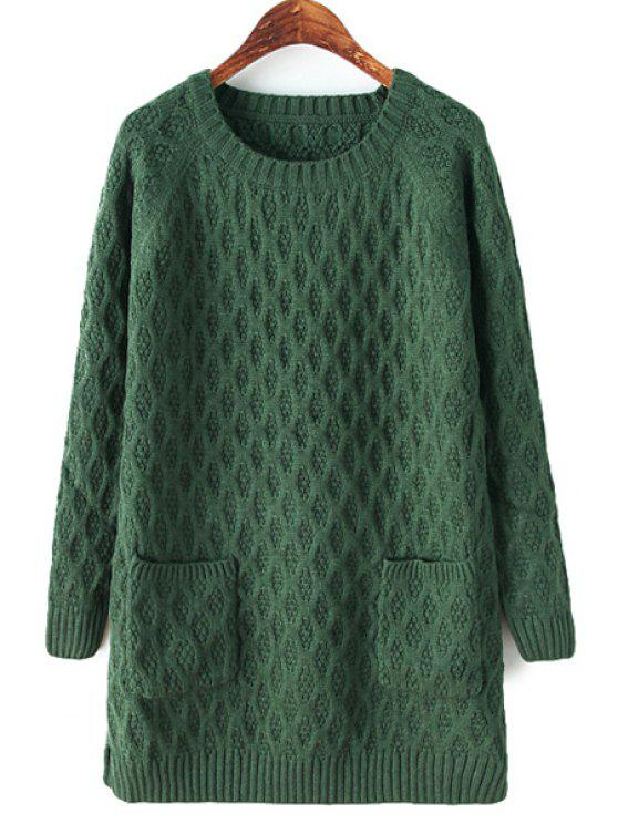 best Solid Color Double Pockets Sweater - GREEN ONE SIZE(FIT SIZE XS TO M)