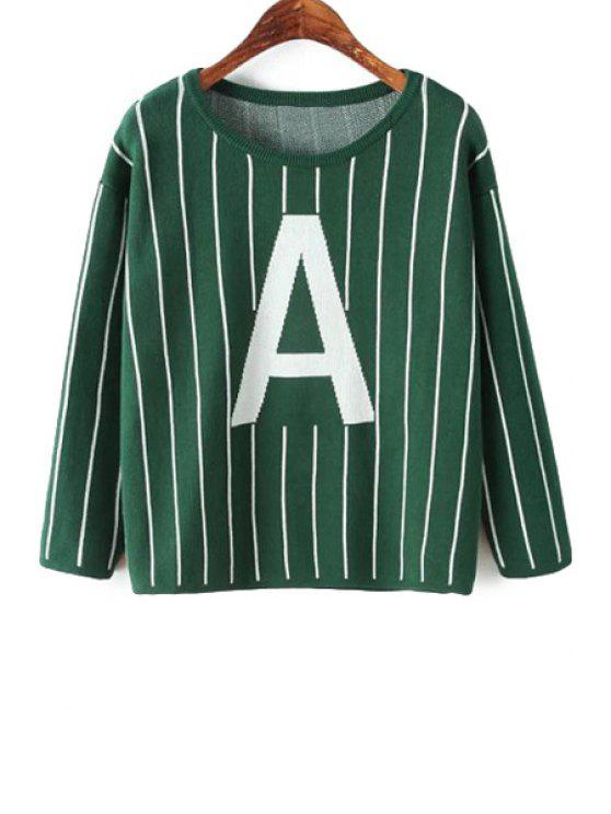 new Striped Letter Pattern Sweater - GREEN ONE SIZE(FIT SIZE XS TO M)