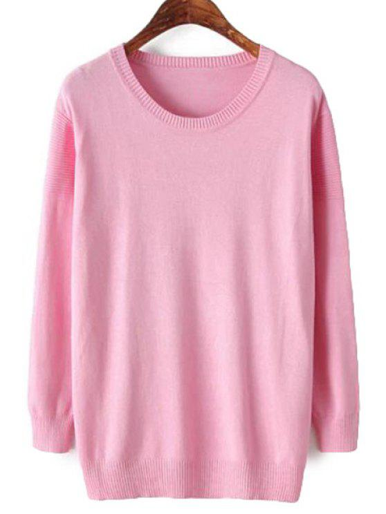 latest Solid Color Scoop Neck Knitwear - PINK ONE SIZE(FIT SIZE XS TO M)
