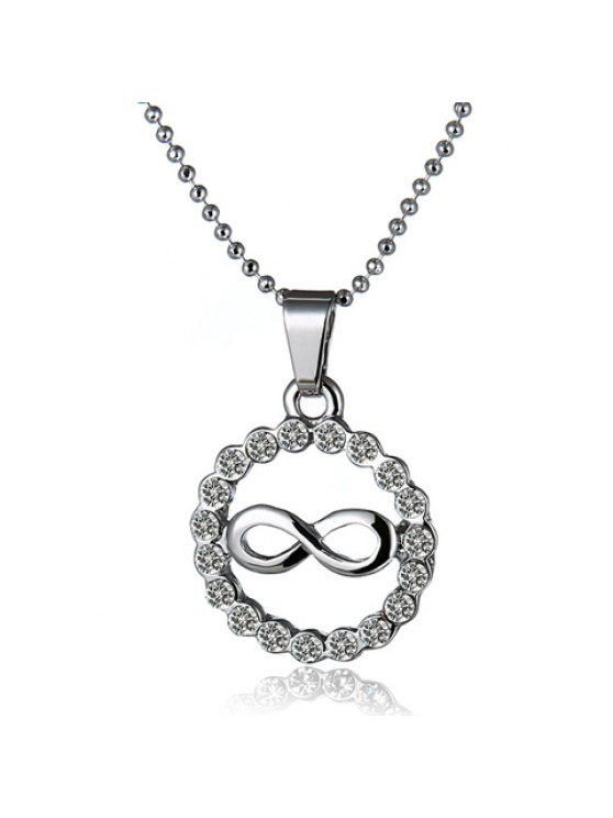 shop Sweet Women's Rhinestone Openwork Eight Round Necklace - SILVER
