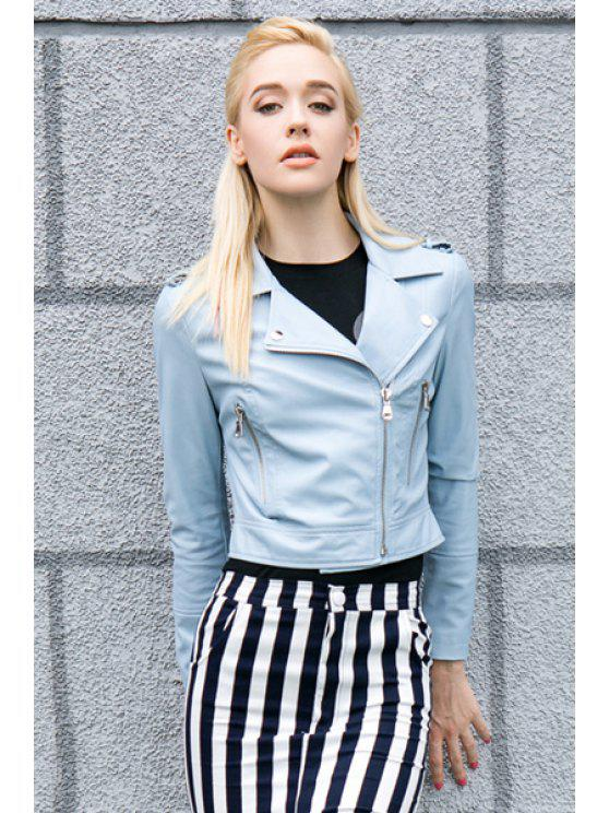 best Blue Lapel PU Leather Jacket - LIGHT BLUE S