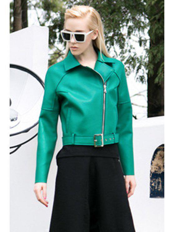 trendy Lapel PU Leather Belt Jacket - GREEN S