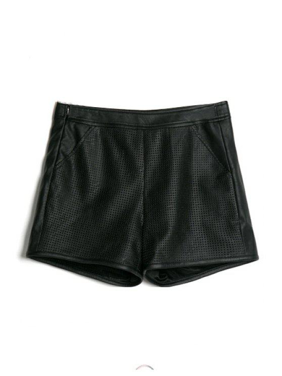 affordable Black PU Leather Hollow Shorts - BLACK S