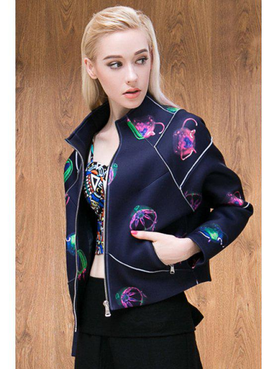 womens Jellyfish Print Stand Collar Jacket - DEEP PURPLE S