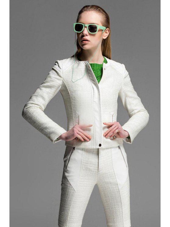 shops Round Neck PU Leather Splicing Jacket - OFF-WHITE S