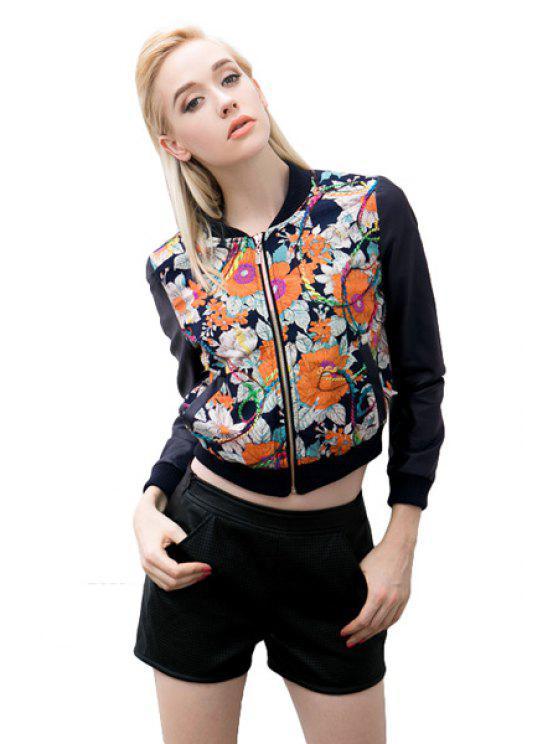 affordable Floral Pattern Splicing Jacket - BLACK S