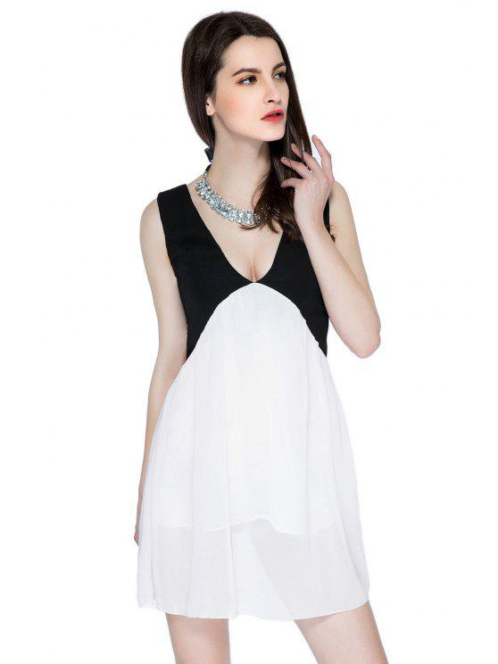 ladies Color Block Plunging Neck Sundress - WHITE AND BLACK XS