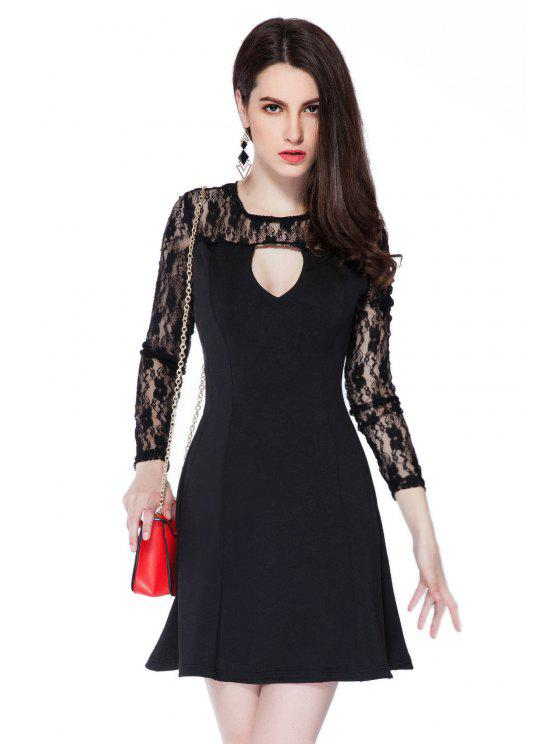 lady Lace Splicing Black Hollow Dress - BLACK XS