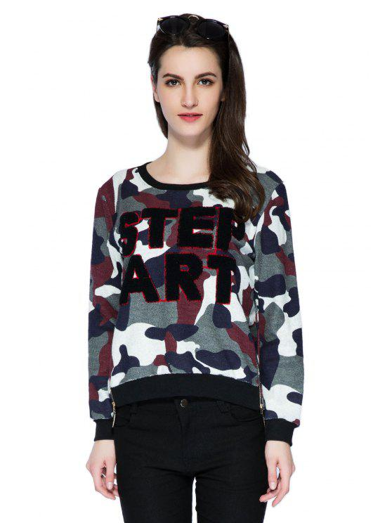 ladies Letter Camouflage Pattern Sweatshirt - COLORMIX S