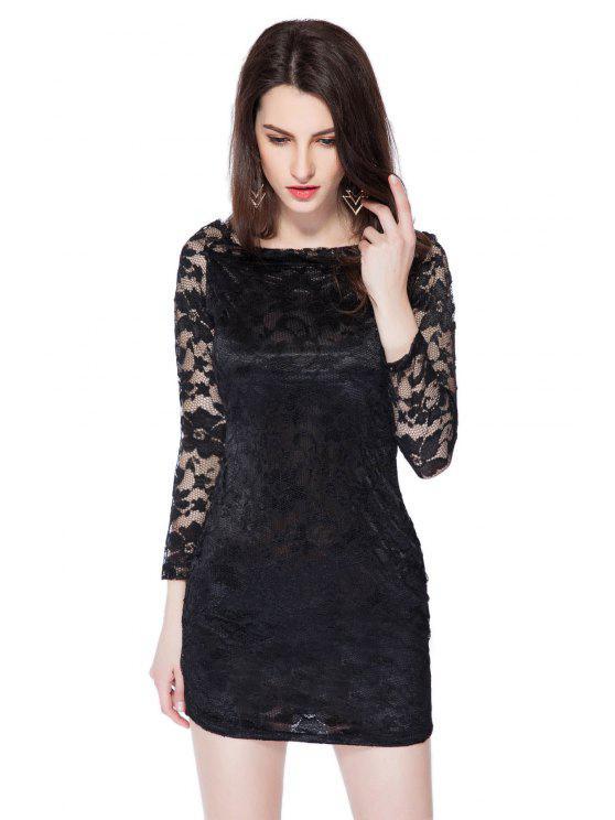 ladies Slash Neck Solid Color Lace Dress - BLACK S