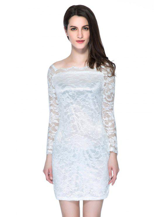 new Slash Neck Solid Color Lace Dress - WHITE S