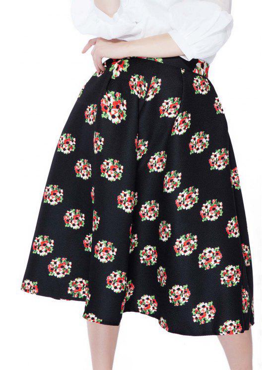 women's Flower Print A-Line Skirt - BLACK S