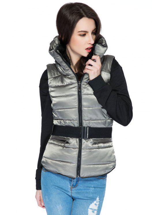 women's Faux Fur Stand Collar Belt Waistcoat - GRAY M