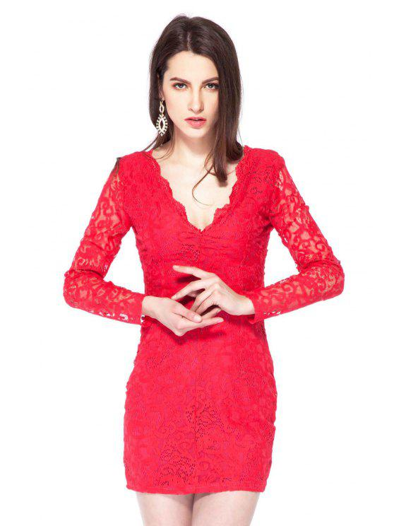 ladies Plunging Neck Lace Bodycon Dress - RED 2XL