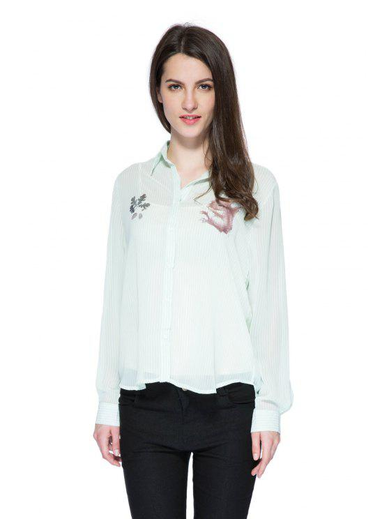 shop Striped Squirrel Print Shirt - LIGHT GREEN S