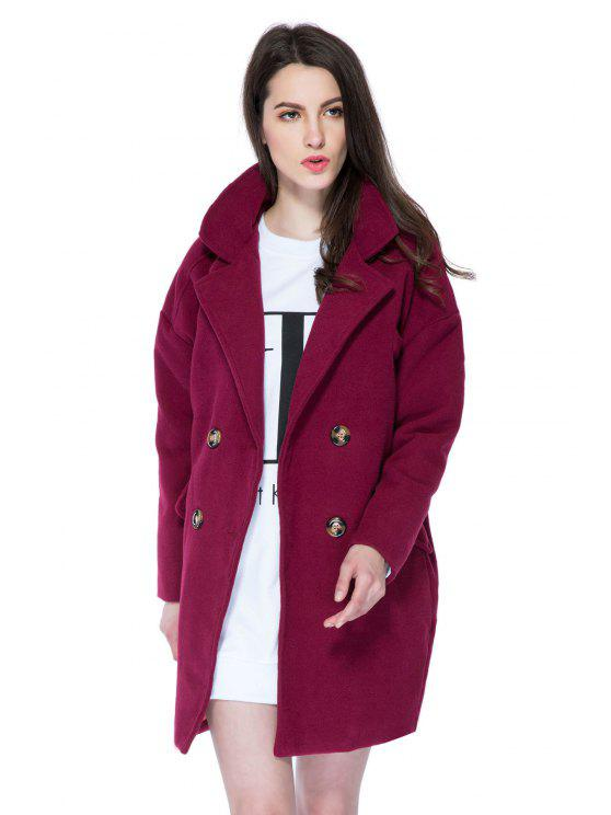online Solid Color Lapel Loose-Fitting Coat - WINE RED M