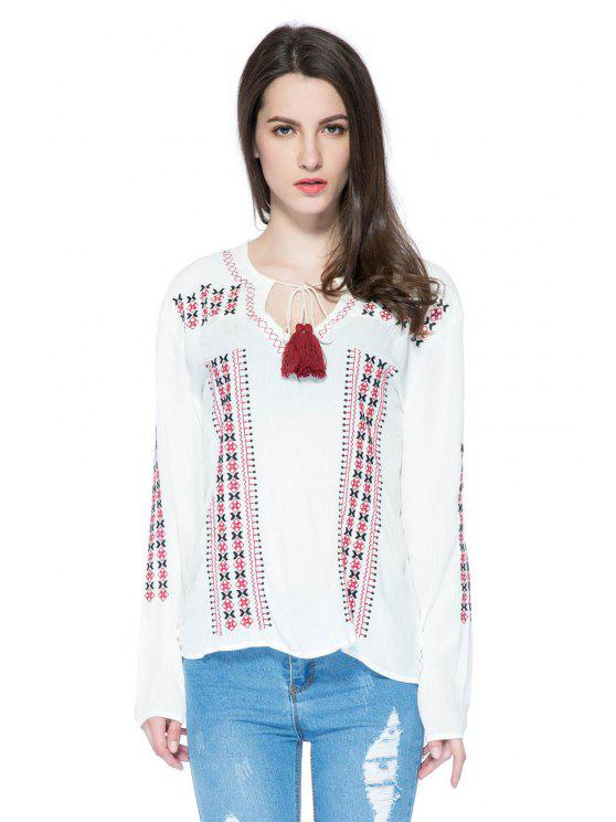 lady Embroidery V-Neck Lace-Up Blouse - WHITE S