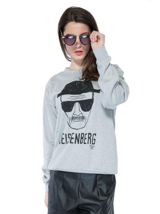 shops Portrait Print Long Sleeve Sweatshirt - GRAY M