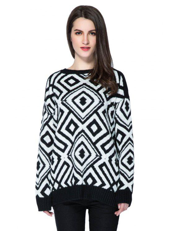 online Argyle Pattern Long Sleeve Sweater - WHITE AND BLACK M