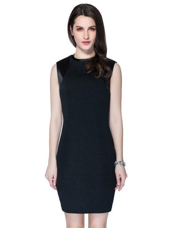 latest Black Round Collar Splicing Sundress - BLACK S