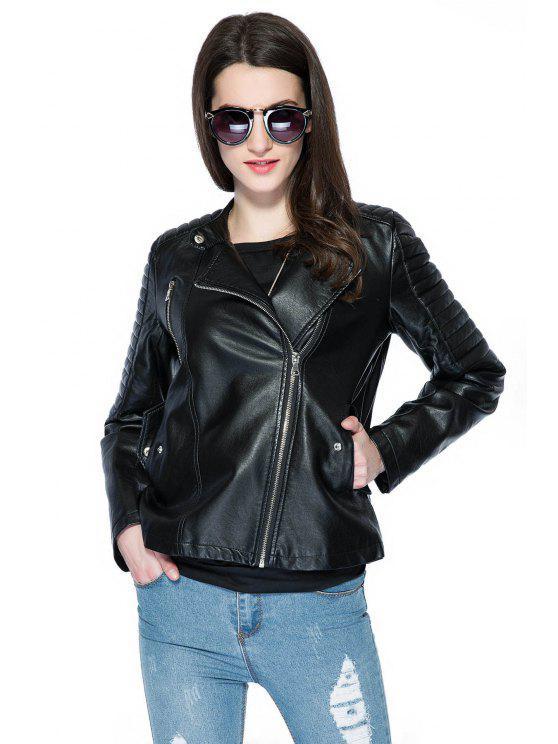 buy Black Long Sleeve PU Leather Jacket - BLACK S