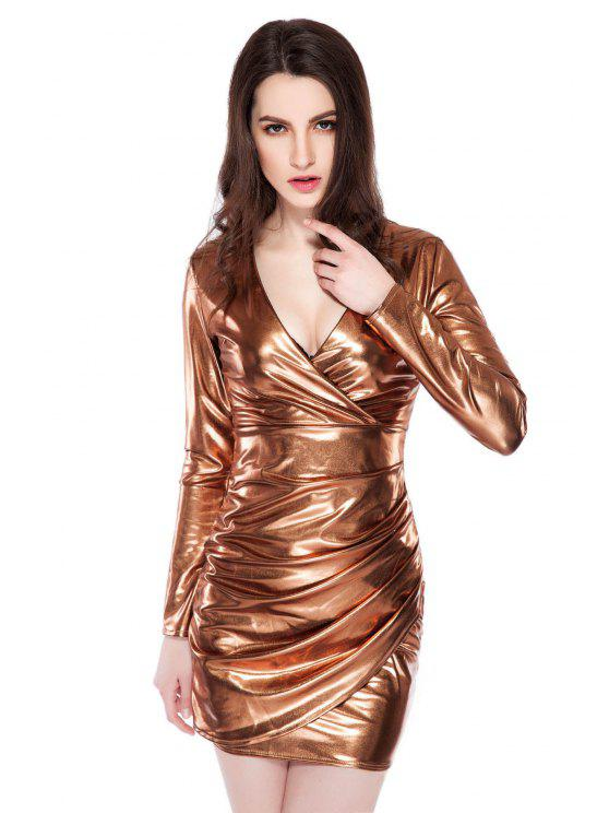 women's Golden Pleated Plunging Neck Dress - GOLDEN XS