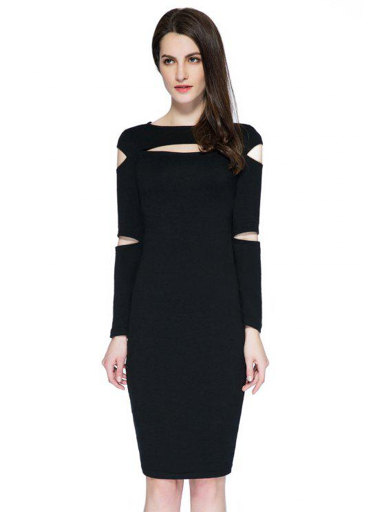 affordable Black Cut Out Long Sleeve Dress - BLACK XS