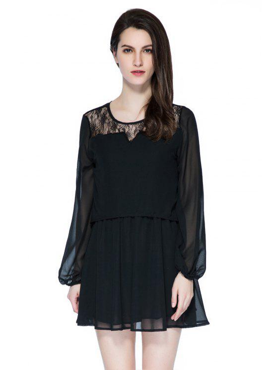 women Lace Splicing Long Sleeve Skit Dress - BLACK S