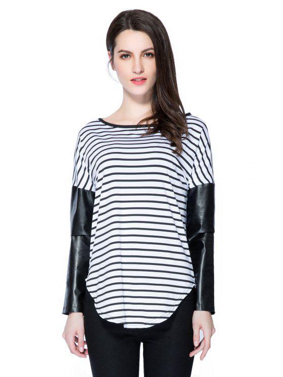 chic Striped Splicing Long Sleeve T-Shirt - STRIPE S