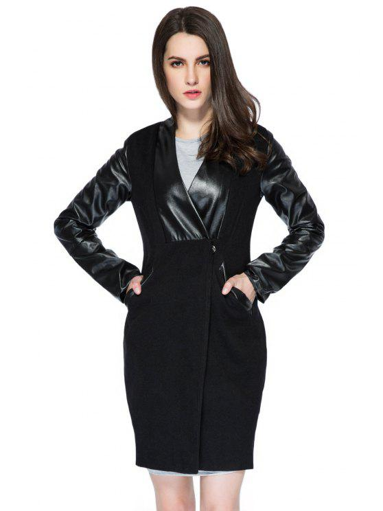 new Faux Leather Splicing V-Neck Coat - BLACK S