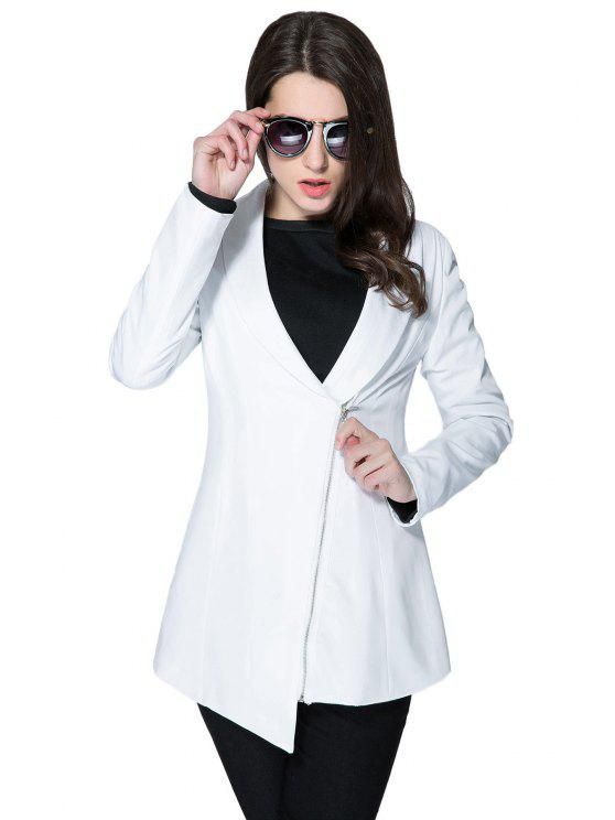 lady Solid Color Plunging Neck Zipper Coat - WHITE L