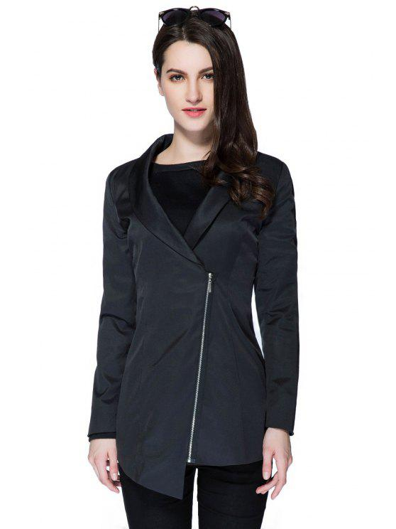 online Solid Color Plunging Neck Zipper Coat - BLACK S