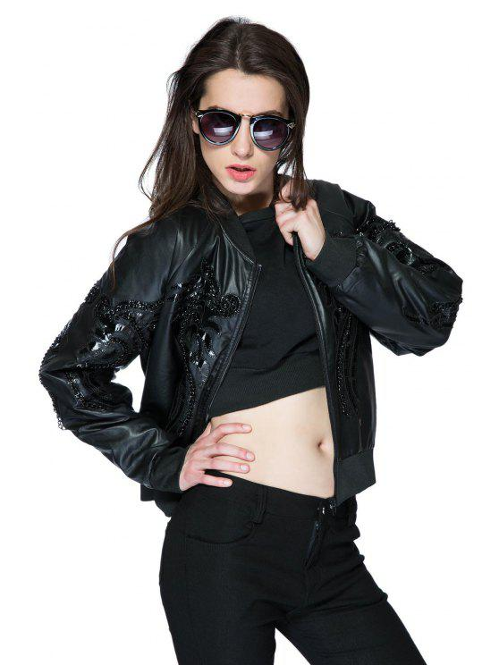 ladies Stand Collar PU Leather Chain Jacket - BLACK ONE SIZE(FIT SIZE XS TO M)