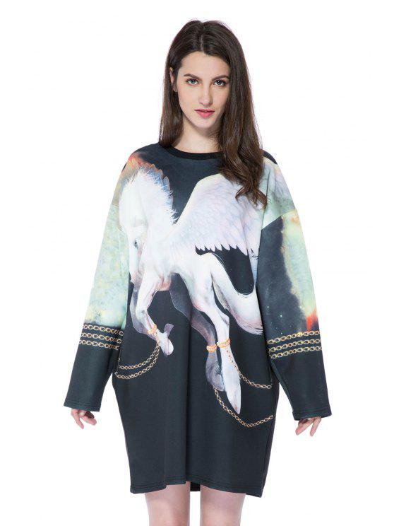 outfit Long Sleeve Horse Print Sweatshirt - BLACK ONE SIZE(FIT SIZE XS TO M)