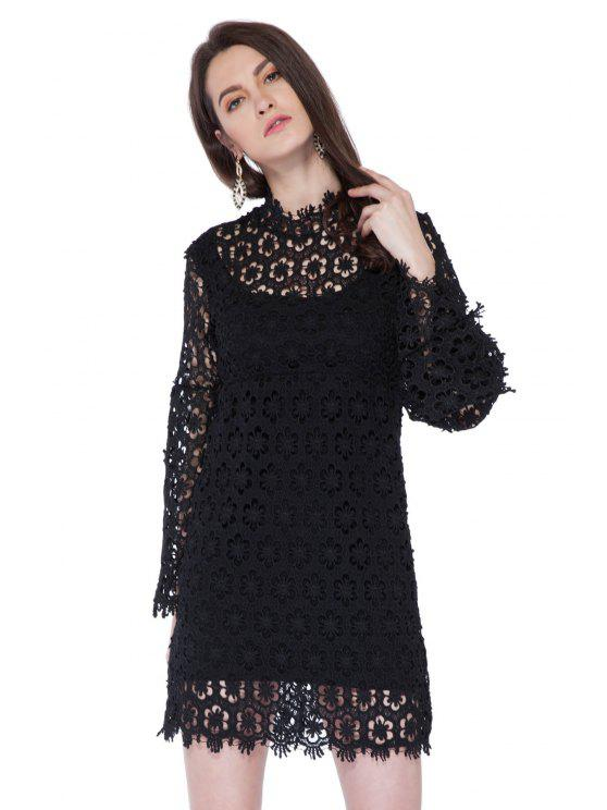 hot Crochet Flower Hollow Lace Dress - BLACK XS