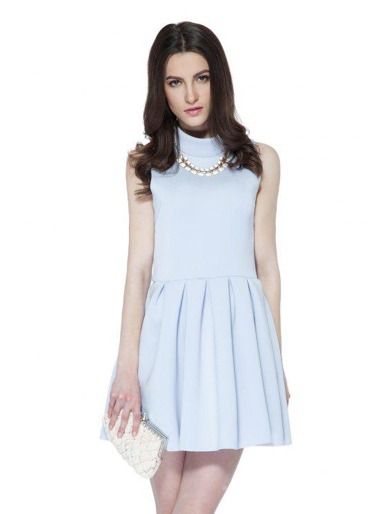 shops Solid Color Sleeveless Flouncing Dress - LIGHT PURPLE XS
