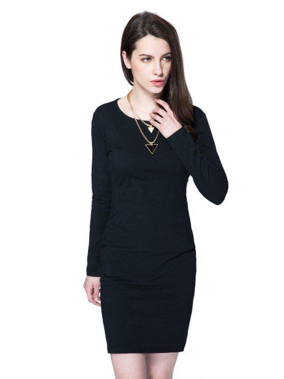 shops Long Sleeve Black Hollow Out Dress - BLACK XS