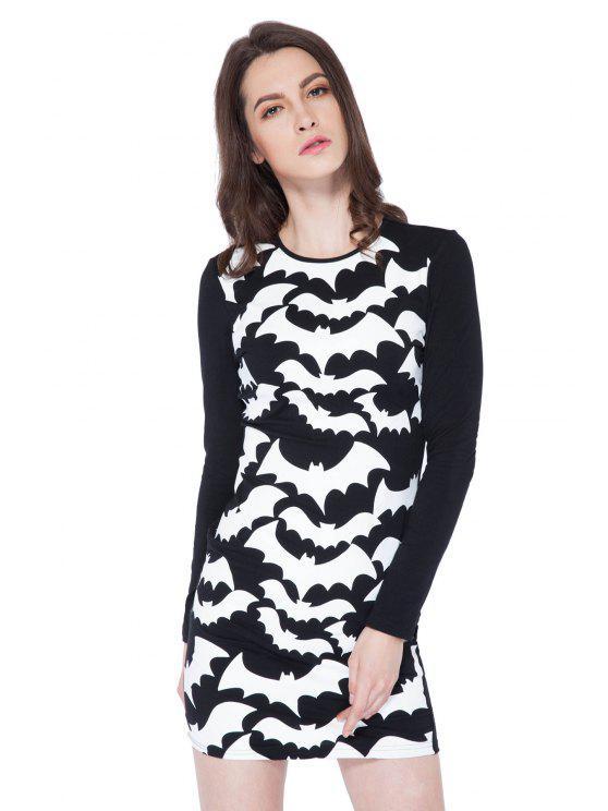 womens Abstract Print Long Sleeve Dress - BLACK XS