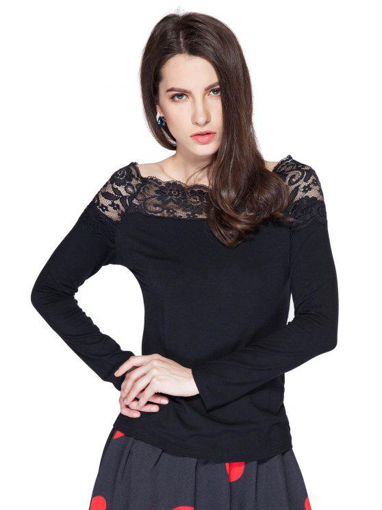 chic Long Sleeve Lace Splicing T-Shirt - BLACK S