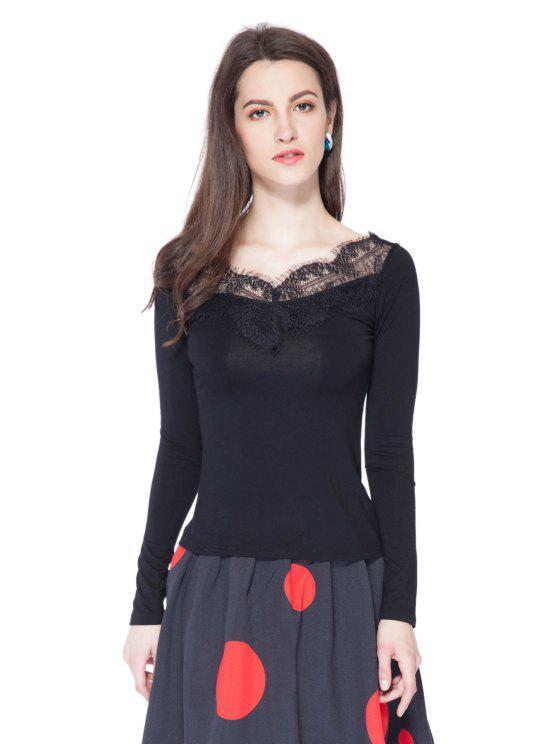 women's Black Lace Splicing Long Sleeve T-Shirt - BLACK S