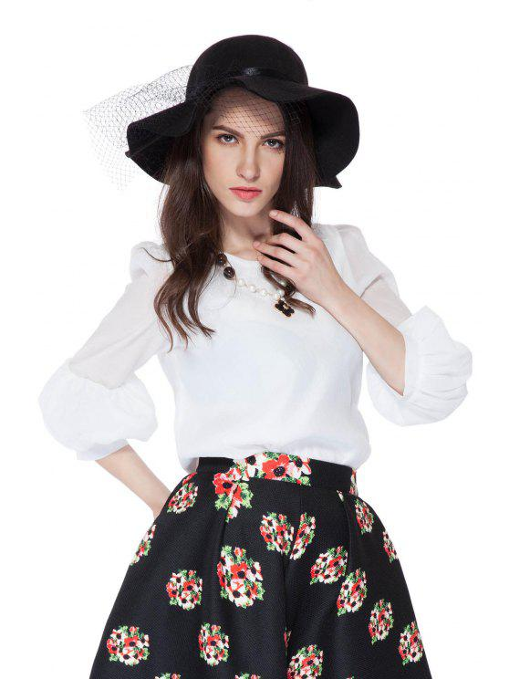 womens Solid Color 3/4 Puff Sleeve Blouse - WHITE L