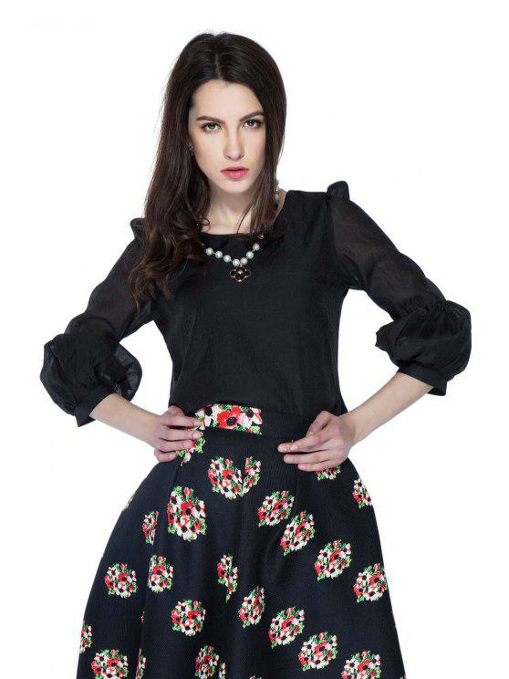 hot Solid Color 3/4 Puff Sleeve Blouse - BLACK L