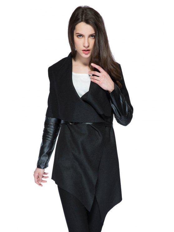 best PU Leather Splicing Long Sleeve Belt Coat - BLACK S
