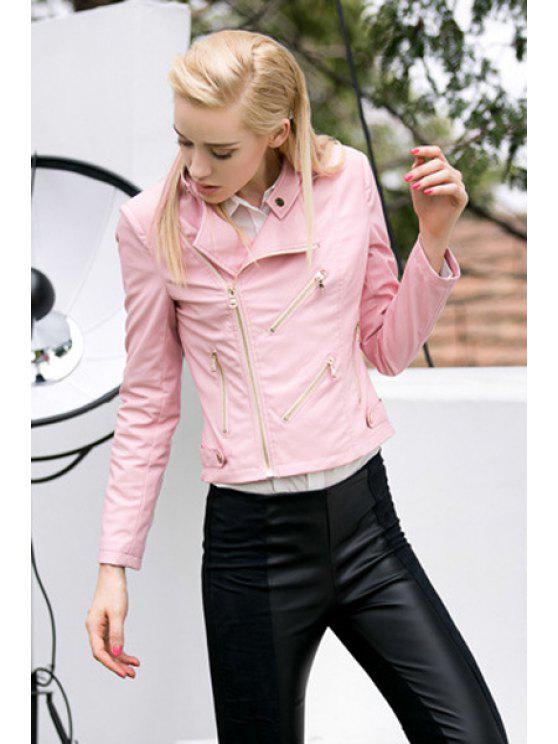 new Pink Long Sleeve PU Leather Jacket - PINK S
