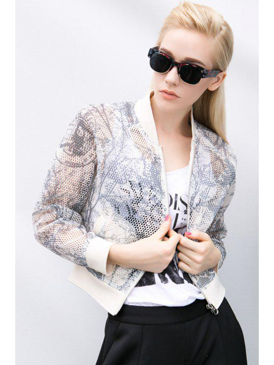 women Long Sleeve Print Hollow Jacket - OFF-WHITE S