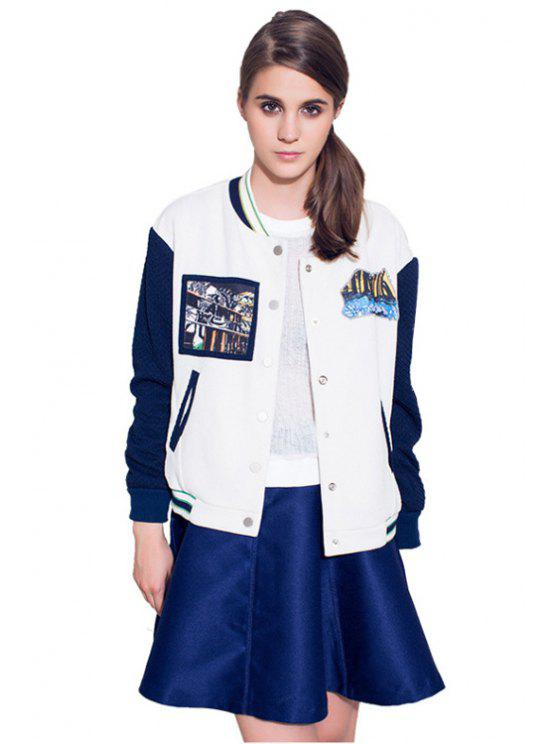 shop Color Block Patch Design Jacket - WHITE S