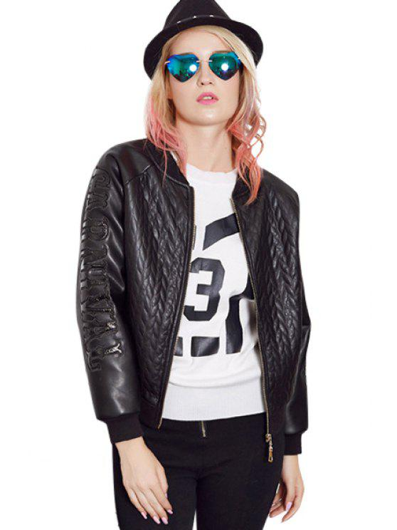 womens Letter Pattern PU Leather Jacket - BLACK M