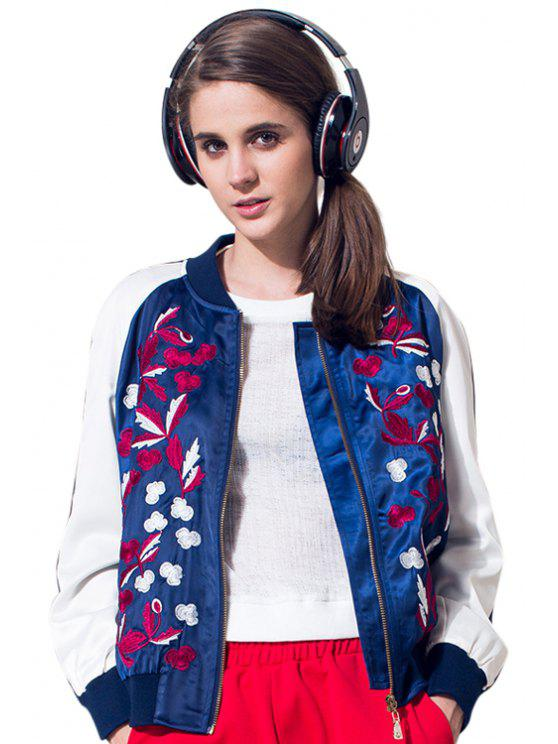 women's Floral Embroidery Long Sleeve Jacket - WHITE S